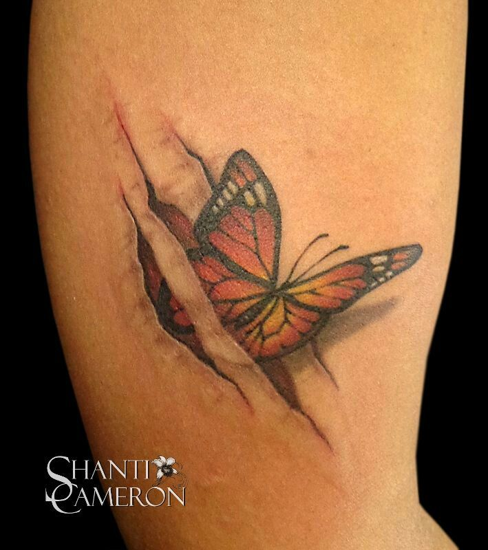 3D Butterfly Rip Skin Tattoo