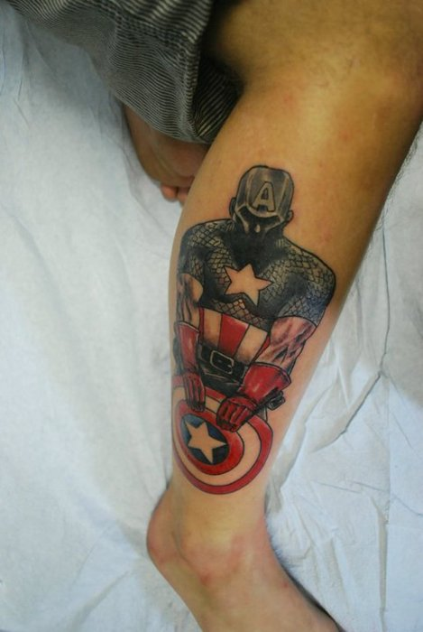 3D Captain America Tattoo On Lower Leg For Boys