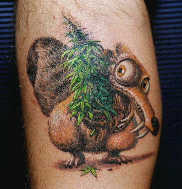 3D Cartoon Bird With Green Weed Leaf Tattoos