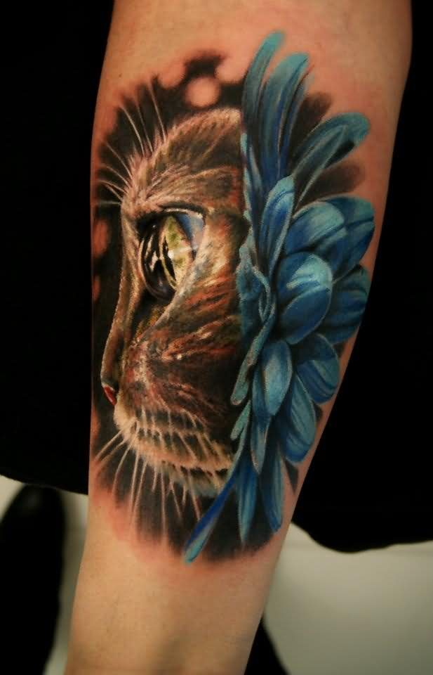 3D Cat And Blue Flower Tattoos