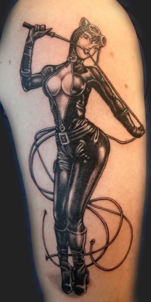 3D Cat Girl Tattoo On Sleeve