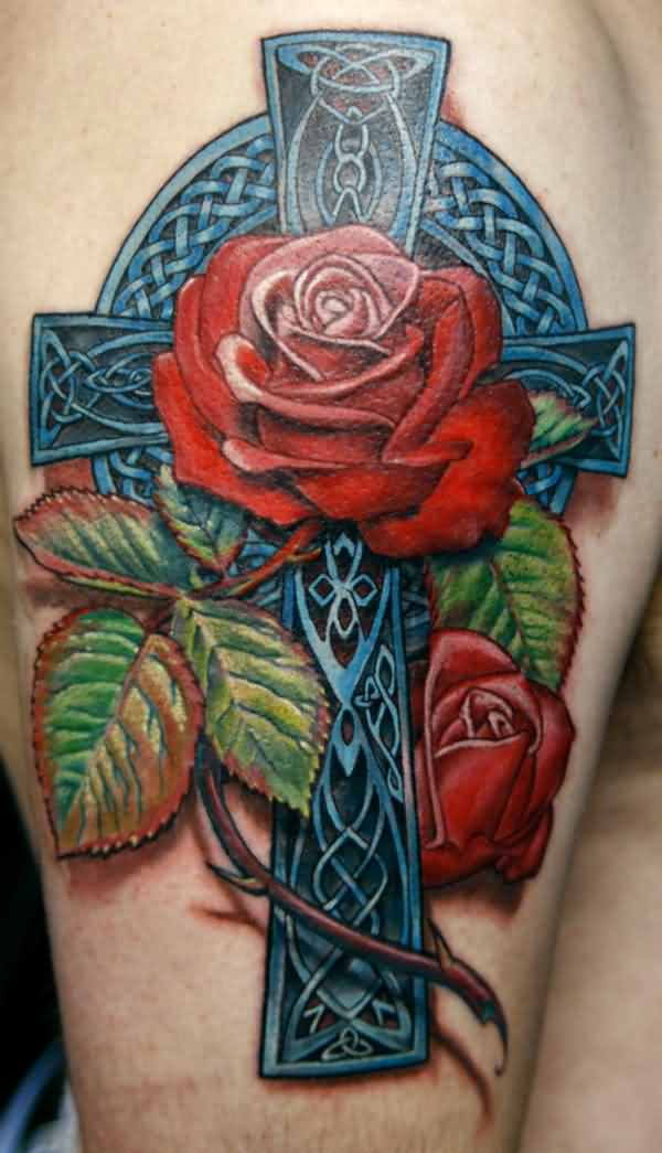 3D Celtic Cross With Red Rose Tattoos On Arm