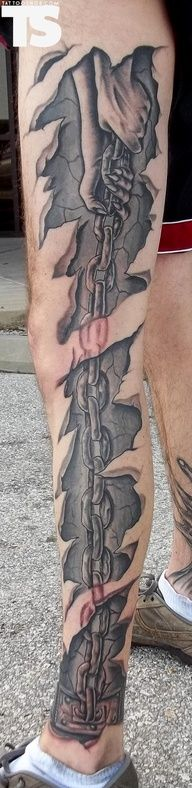 3D Chain Skin Rip Tattoo On Whole Left Leg