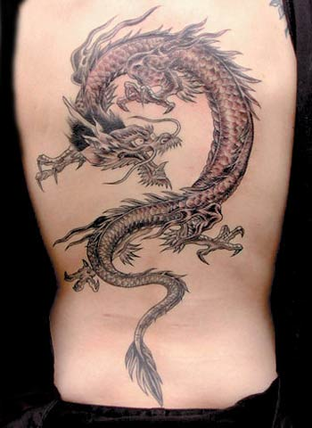 3D Chinese Dragon Tattoo On The Back
