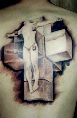 3D Christian Cross Tattoo On The Back