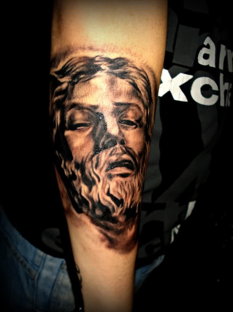 3D Christian God Portrait Tattoo On Arm