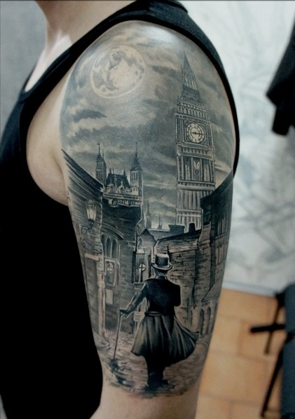 3D City View Tattoo On Half Sleeve