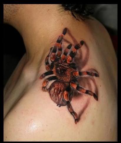 3D Climbing Spider Tattoo On Neck