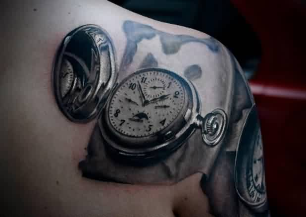 3D Clock Tattoo On Right Back Shoulder
