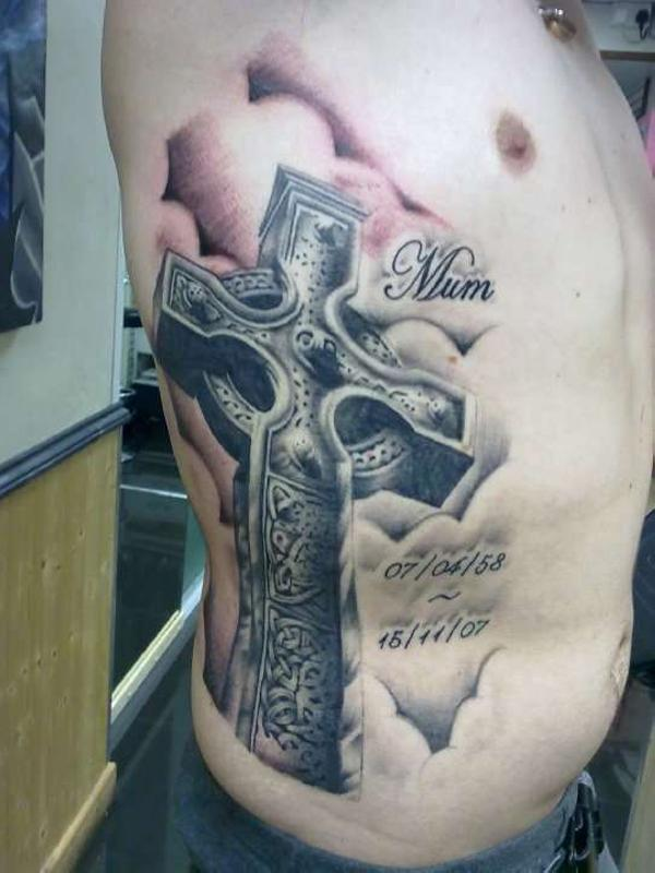 3D Clouds And Celtic Cross Tattoos On Right Side
