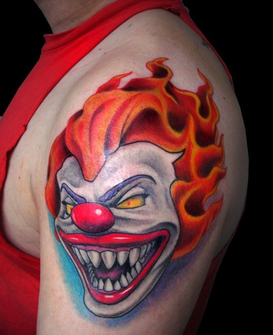 3D Clown With Orange Hairs Tattoo On Shoulder