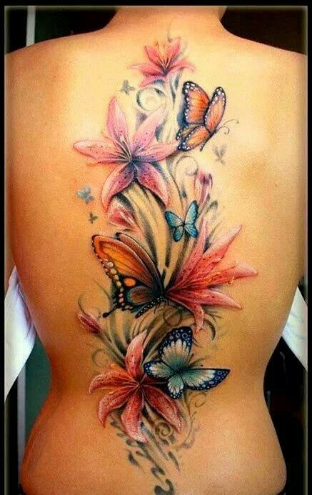 3D Color Butterflies And Flower Tattoos On The Spine
