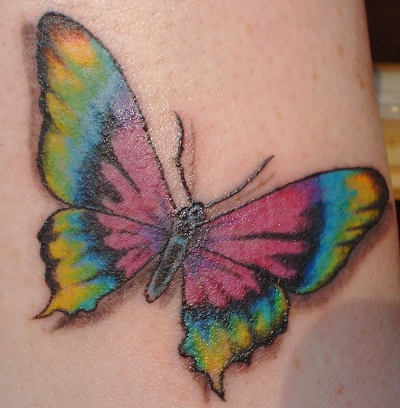3D Color Butterfly Tattoo