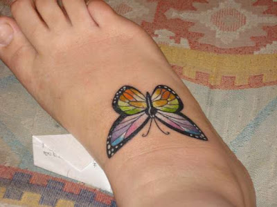 3D Color Butterfly Tattoo On Right Foot