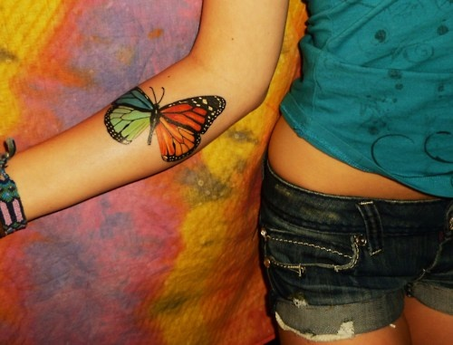 3D Color Butterfly Tattoo Trend For Young Girls