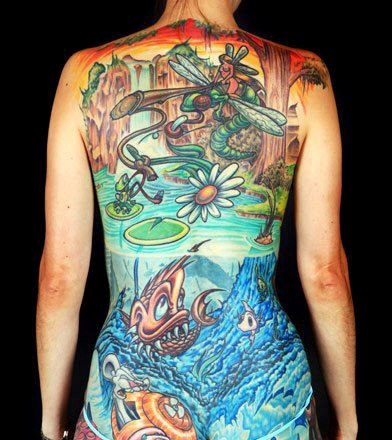 3D Color Cartoon Tattooed Back