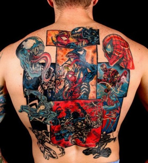 3D Color Comic Tattoos On Backbody