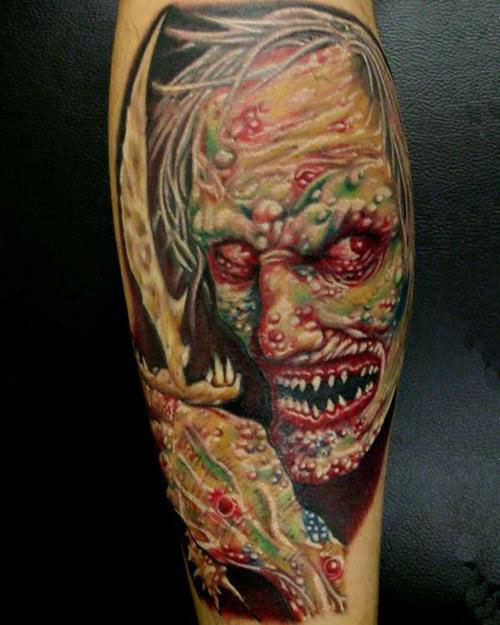 3D Color Zombie Face Tattoo On Sleeve