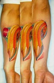 3D Colorful Crook Pencil Tattoo