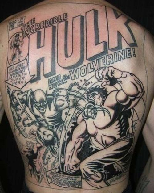 3D Comic Tattoos On Whole Back