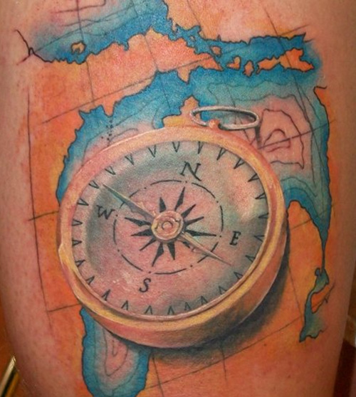 3D Compass And Blue Map Tattoos