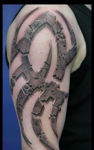 3D Cracked Stone Tribal Tattoo On Half Sleeve