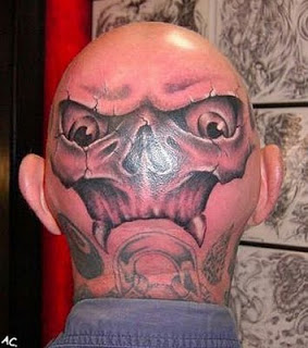 3D Cracked Wicked Face Tattoo On Head