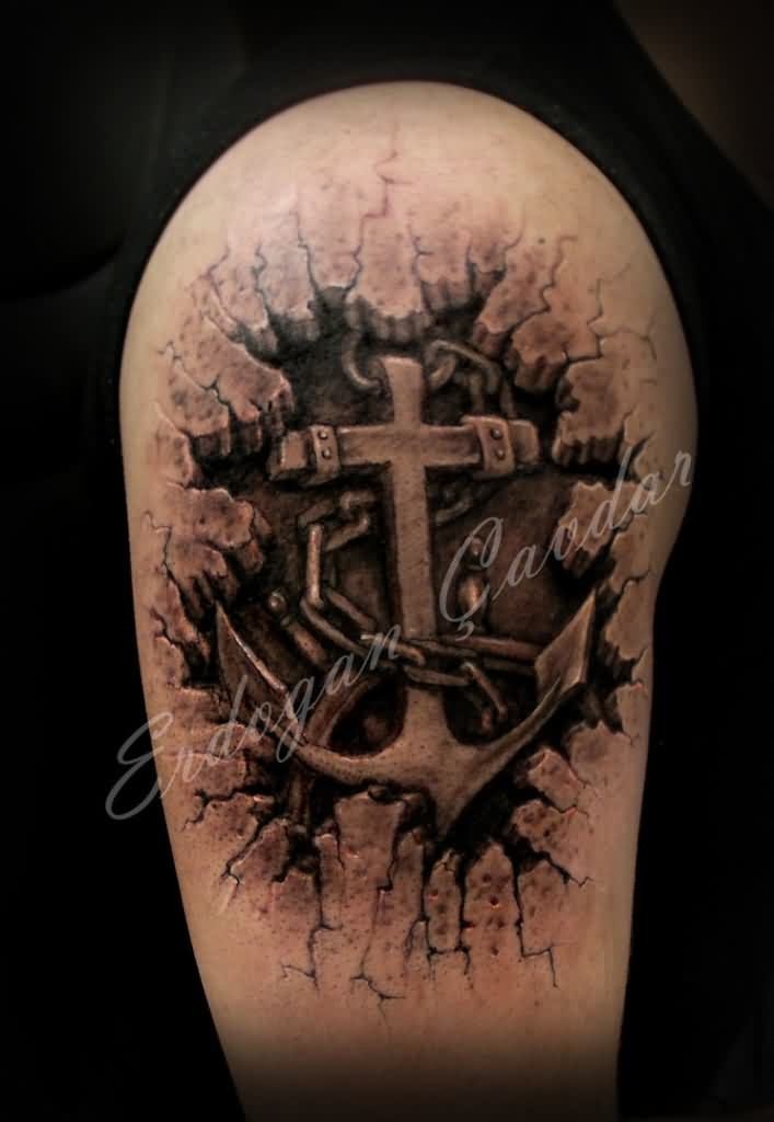 3D Cross Anchor Tattoo On Biceps