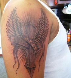 3D Cross With Wings Tattoo On Arm