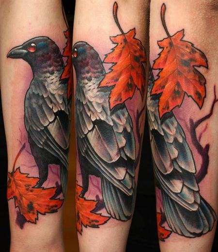 3D Crow Raven Leaves Tattoos