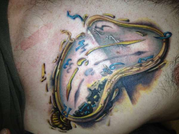 3D Dali Clock Tattoo On Chest