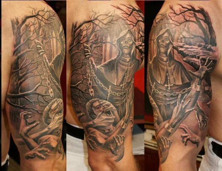 3D Death Scene Tattoo On Half Sleeve