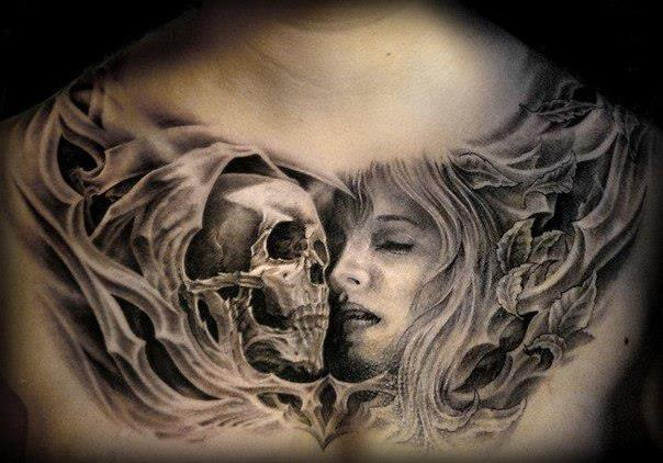 3D Death Skull And Girl Face Tattoos On Full Chest