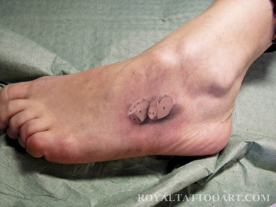 3D Dice Pair Tattoo On Foot