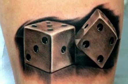 3D Dice Pair Tattoo