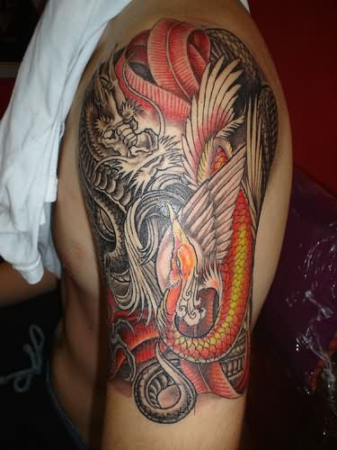 3D Dragon And Phoenix Tattoos On Half Sleeve