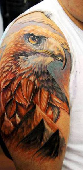 3D Eagle And Pyramid Tattoos On Half Sleeve
