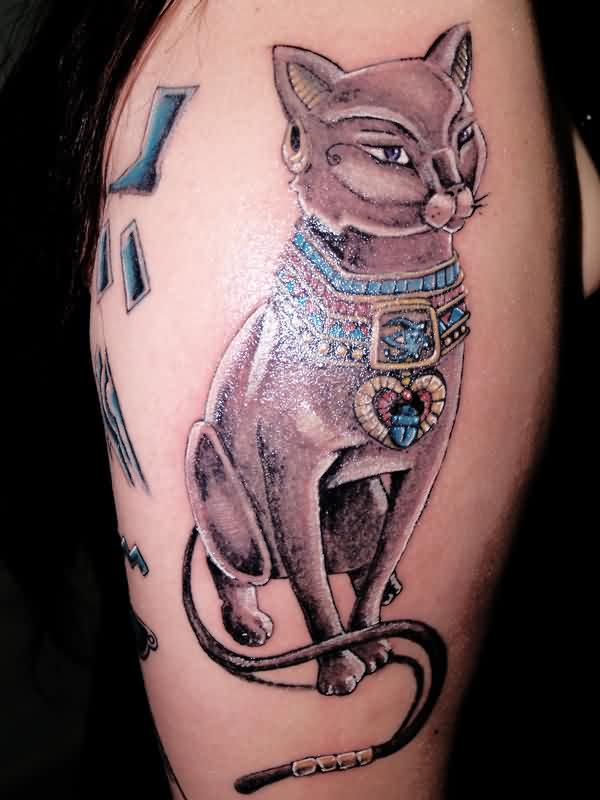 3D Egyptian Cat Sitting Tattoo On Arm