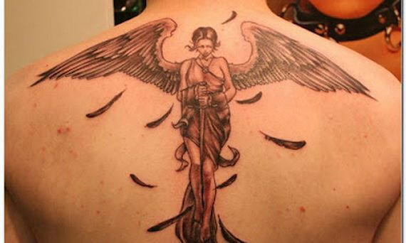 3D Female Angel Tattoo On Upperback