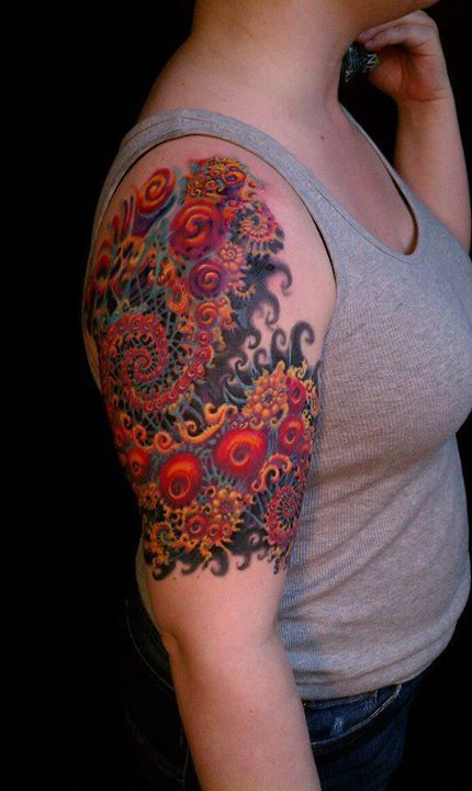 3D Floral Dragon Tattoo On Half Sleeve