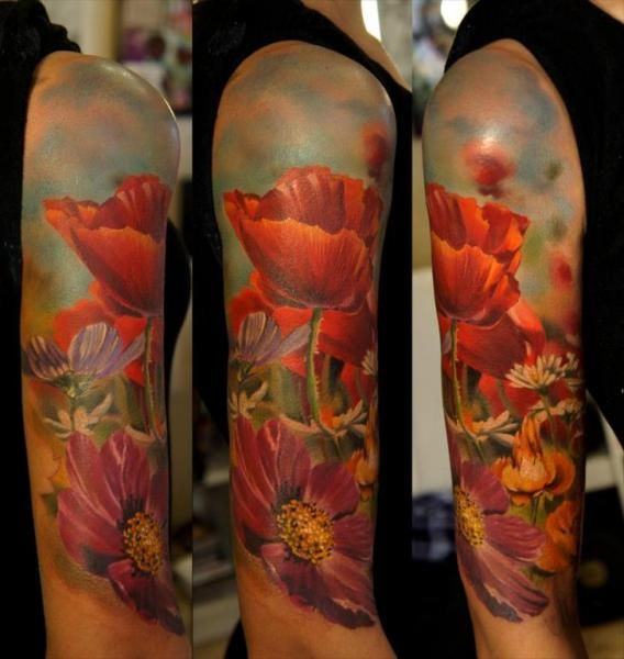 3D Flower Tattoos On Sleeve