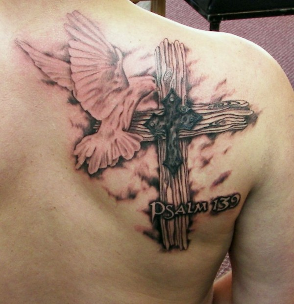 3D Flying Dove And Wooden Cross Tattoos On Back Shoulder