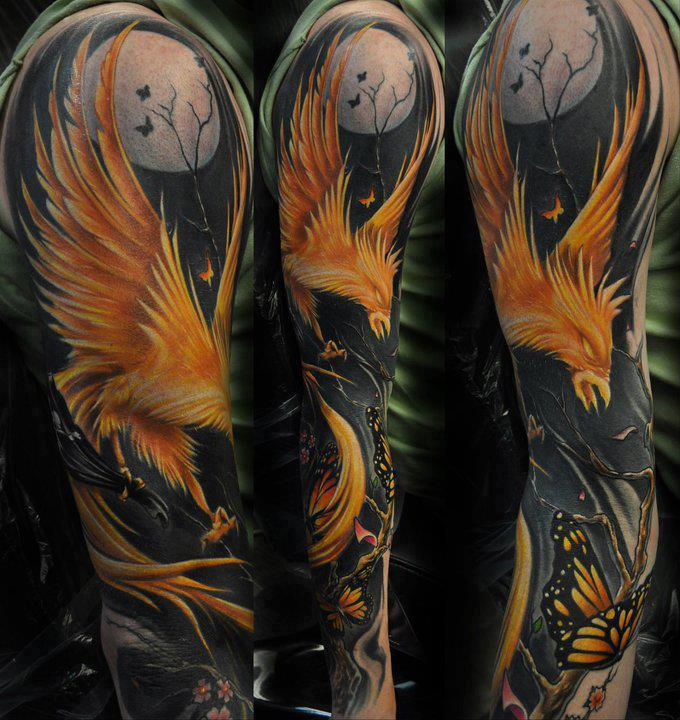 3D Flying Phoenix And Butterfly Tattoos On Sleeve