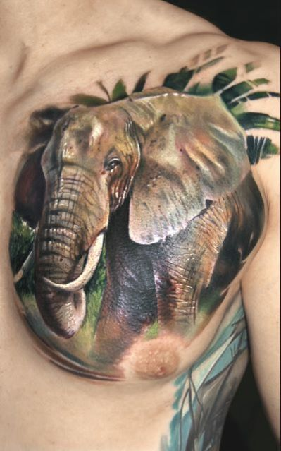 3D Forest Elephant Tattoo On Chest