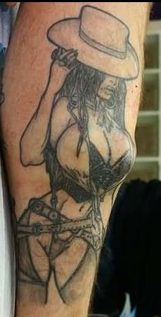 3D Gangsta Girl Tattoo On Sleeve