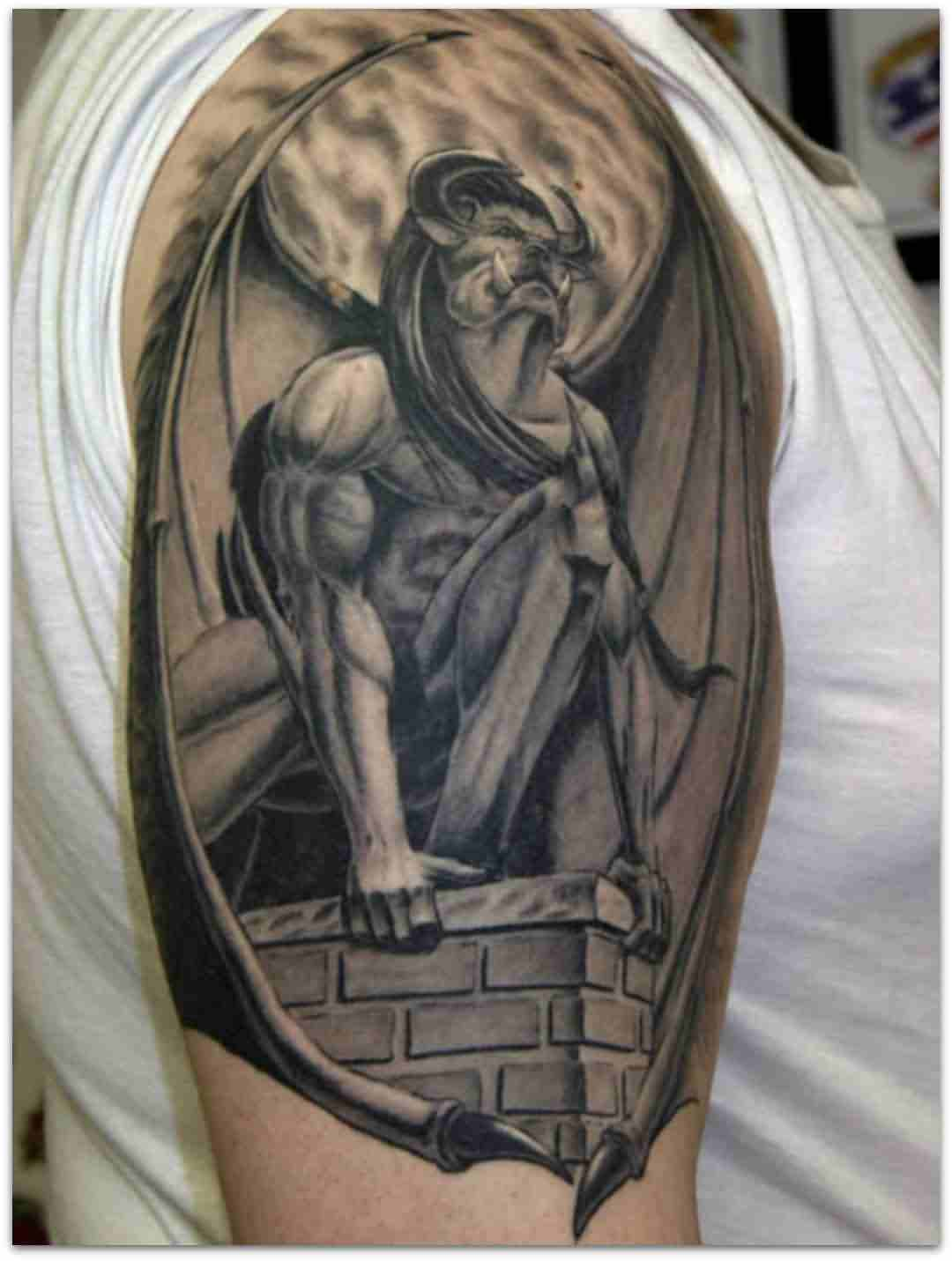3D Gargoyle Sitting On Wall Tattoo On Shoulder