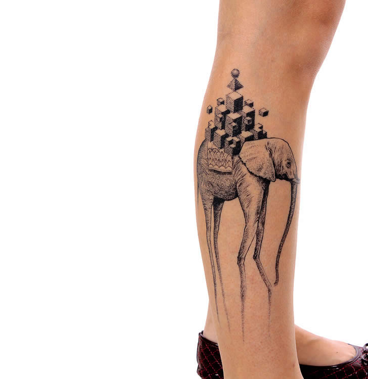 3D Geometric Dali Elephnat Tattoo On Right Leg For Girls