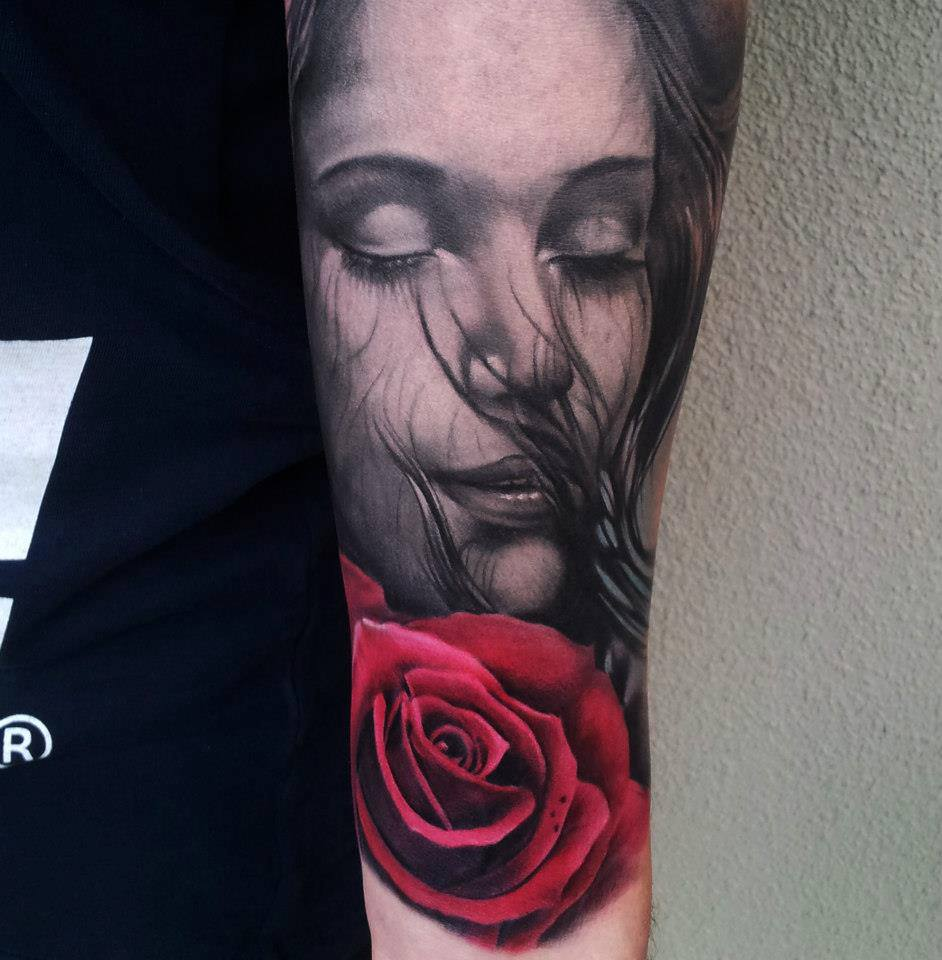 3D Girl Face And Red Rose Tattoos On Arm