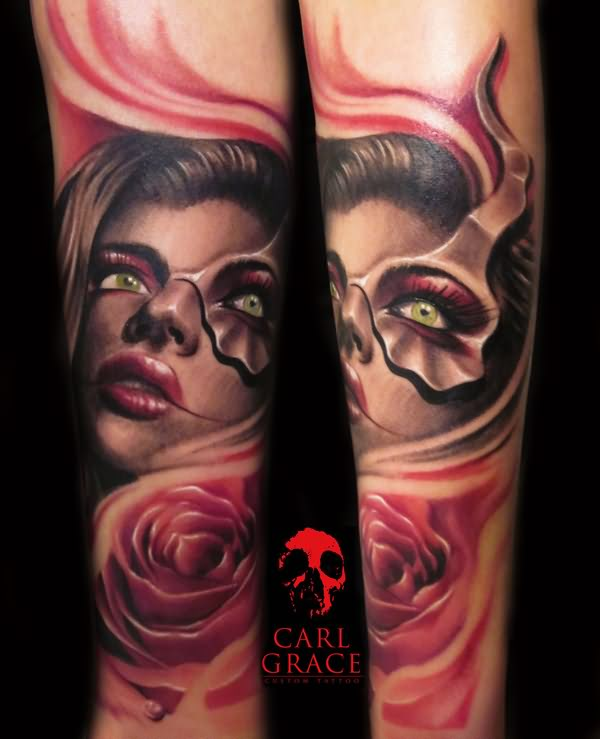 3D Girl Face And Rose Tattoos On Sleeve