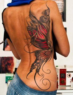 3D Girly Butterfly Tattoo On Side Back
